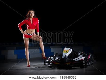 Young woman with carting car isolated