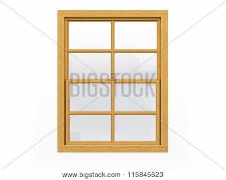 Closed Wooden Window Isolated On White