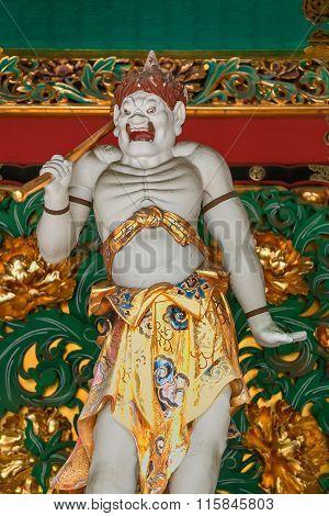 NIKKO, JAPAN - NOVEMBER 17, 2015: Kendara - One of the four guardians at the Yashamon Gate of  Taiyuinbyo - the Mausoleum of Shogun Tokugawa Iemitsu, the grandson of Ieyasa : the first Shogun of the Tokugawa clan