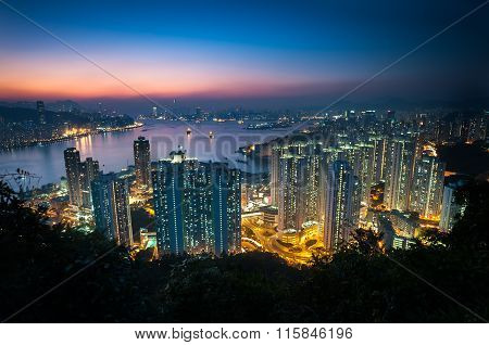 Illuminated High-rise Apartment Blocks In Yau Tong As Seen From Devil's Peak, Kowloon