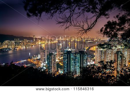 Illuminated Cityscape And Victoria Harbour As Seen From Devil's Peak, Kowloon