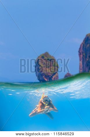 Split photo of a Young women at snorkeling in the tropical water