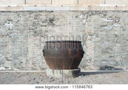 Rusted Water Vat Inside The Forbidden City, Beijing.