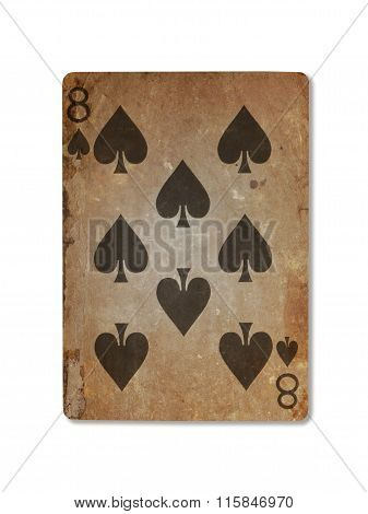 Very Old Playing Card, Eight Of Spades