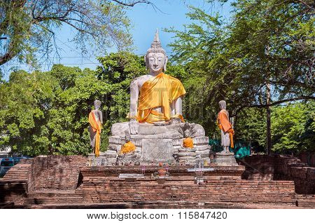 Large Stone Buddha Statue With Orange Sash, Ayutthaya, Thailand