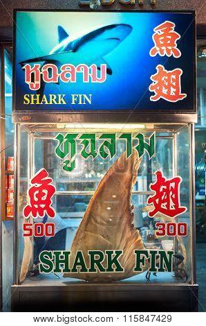 Shark Fin On Display At Yaowarat Night Market, Chinatown, Bangkok