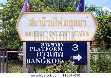 Destination Sign At Ayutthaya Railway Station, Thailand
