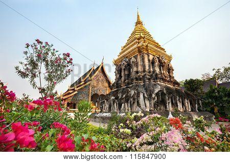 Chedi Chang Lom At Wat Chiang Man, Chiang Mai, Thailand