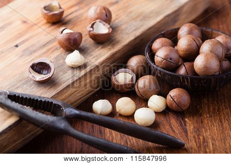 Macadamia nuts on a wooden table