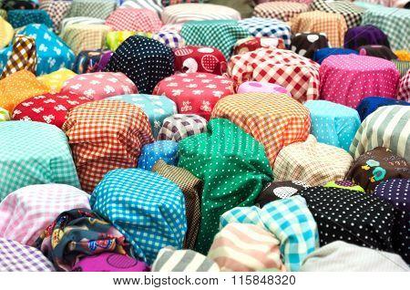 Colourful Fabric On Sale At A Bangkok Wholesale Market
