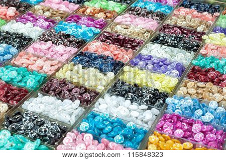 Colourful Buttons On Display At A Market Stall