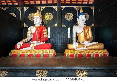 Buddha Statues At Wat Chedi Luang, Chiang Mai, Thailand