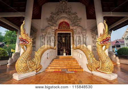 Twin Naga Serpents At The Entrance To Wat Chedi Luang, Chiang Mai, Thailand