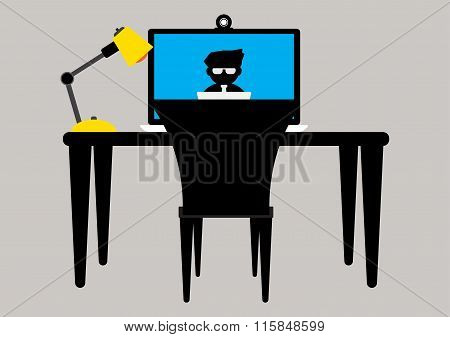 Computer Labtop Working Table With Yellow Lamp For Meeting Online. Vector Illustration Business Conc