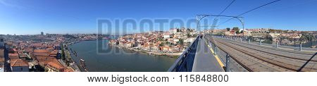 background panoramic views of the waterfront promenade and Porto Vila Nova de Gaia from the top of D