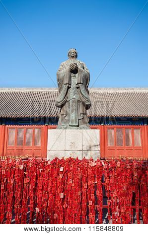 Statue Of The Chinese Philosopher Confucius At The Beijing Confucius Temple