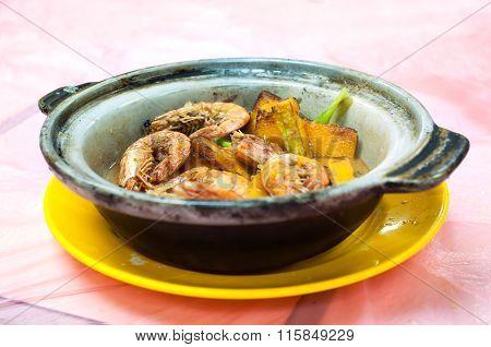 Shrimp And Pumpkin Pot, Traditional Chinese Seafood Dish, Served At A Local Hong Kong Restaurant