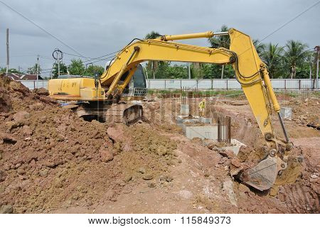 Excavator Machine used to excavate soil at the construction site