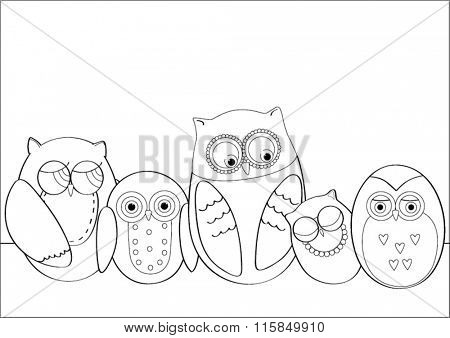 Cute vector owls in outline form for coloring