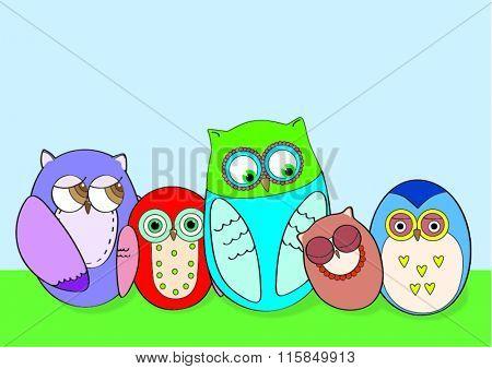 Five cute vector bright owls