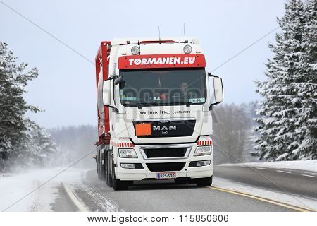 White MAN Tank Truck On Winter Road