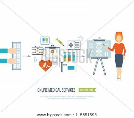 Vector illustration concept for healthcare, medical help and research.