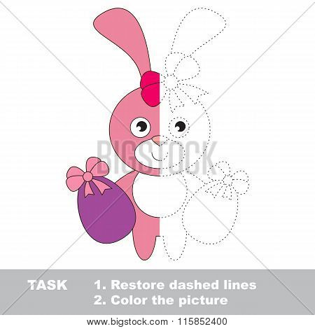 Pink Bunny to be colored. Vector trace game.