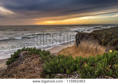 Pacific Ocean With Sunset