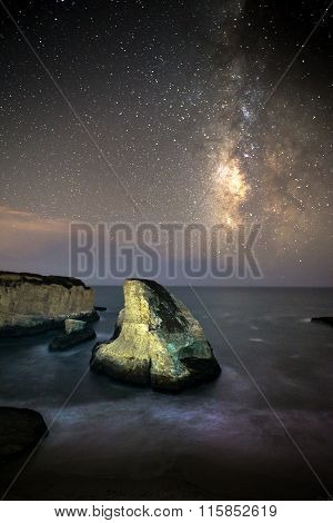 Shark Fin Cove With Milky Way