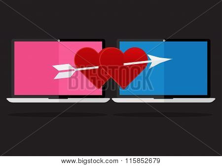 Flat Design The Red Heart With Arrow On Laptop Notebook Love Online Dating. Valentines Day I Love Yo