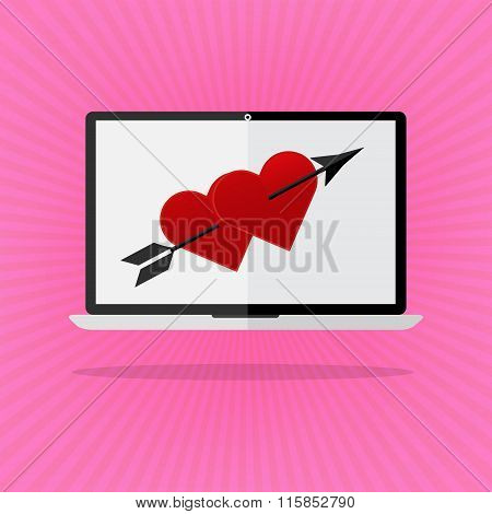 Flat Design The Red Heart With Arrow On Laptop Notebook Love Online Dating On Pink Sunrays Backgroun