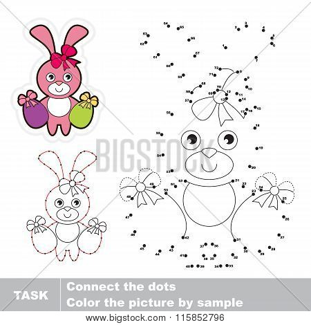Pink Bunny. Vector numbers game.