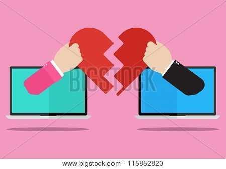 Man And Woman Hands Appeared From Laptop Screen Giving Their Own Hearts To Each Other On Pink Backgr