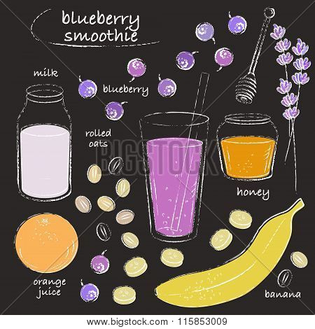 Blueberry Smoothie Glass And Ingredients Recipe Line Art Chalk Sketch