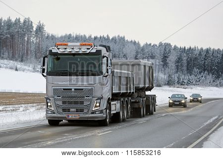 Volvo FH16 650 Combination Truck On Winter Road