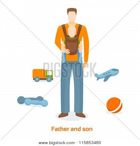 Father carries the Child in a sling.