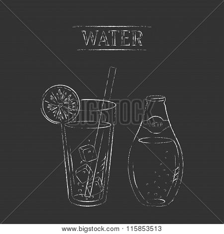 Vector Chalk Sketch Illustration Of Water Bottle And Glass With Lemon, Straw And Ice Cubes.