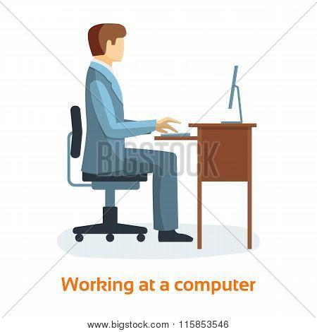 Man Working On Desktop Computer.