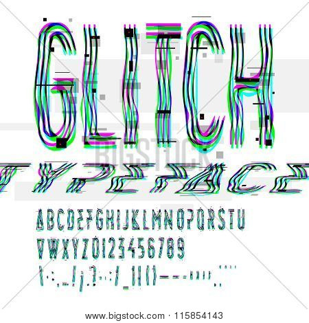 Typographic glitch font with digital decay