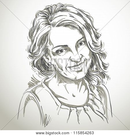 Portrait Of Delicate Good-looking Woman, Black And White Vector Drawing. Emotional Expressions Idea