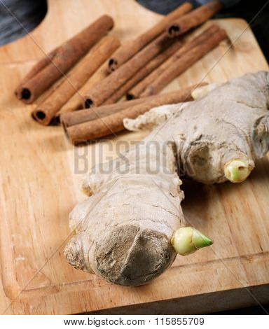 Still-life With Ginger And Cinnamon On An Old Kitchen Table