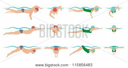 illustration of swimming. Drawing vector.