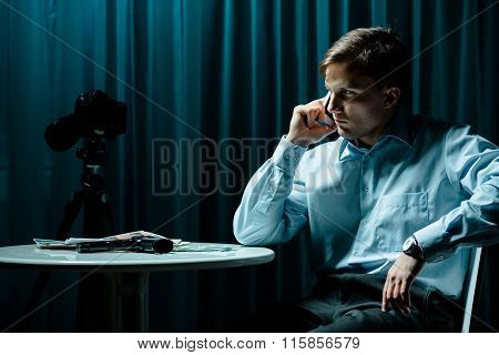 Detective Talking On The Phone