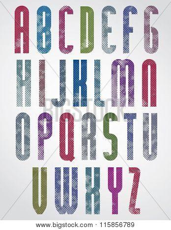 Halftone Print Dots Textured Tall Font