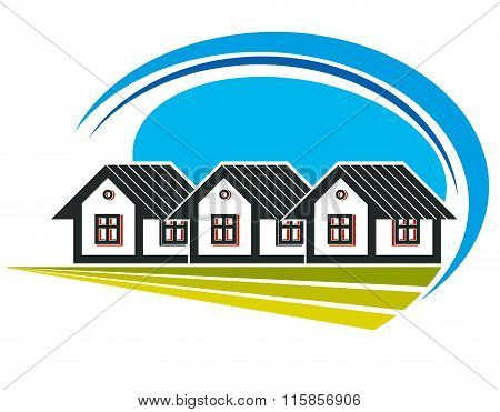 Colorful Vector Illustration Of Country Houses On Nature Background With White Clouds. Village Theme