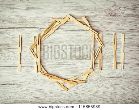 Cutlery With Plate Of Toothpicks On The Wooden Background