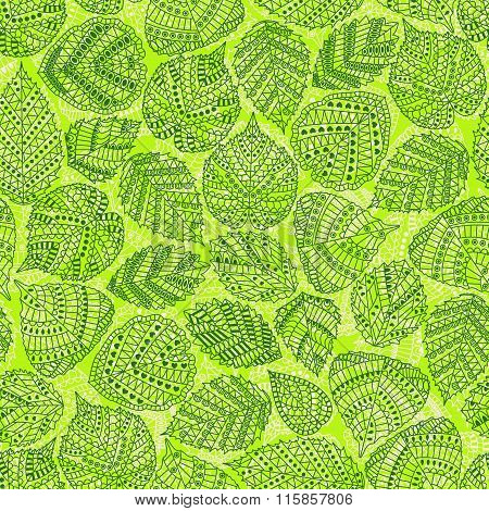 Seamless pattern with different tree leaves such as oak and holly, chestnut and birch, aspen and lin