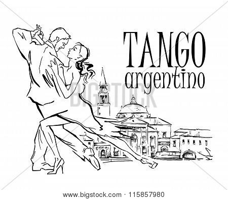 Hand made vector sketch of tango dancers.