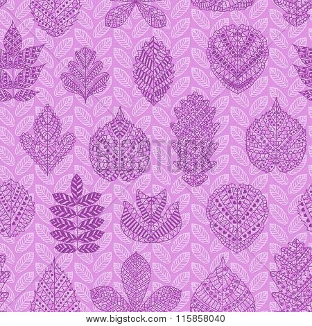 Seamless pattern with different tree leaves such as oak, chestnut and birch, aspen and linden, popla