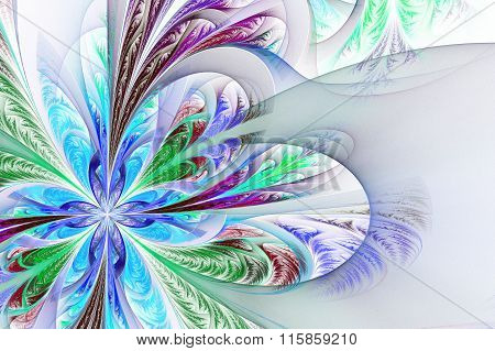Diagonal Symmetric Multicolor Fractal Tracery. Collection - Frosty Pattern. On White.
